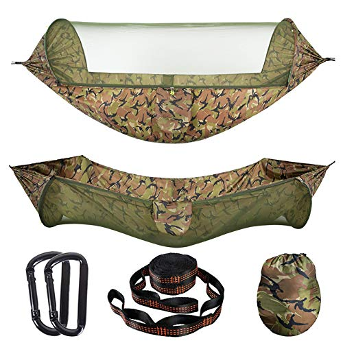 AMZQJD Camping Hammock with Automatic Pop-up Mosquito Net, Portable Single & Double Hammock with Tree Straps, Carabiners and Storage Bag for Outdoor, Travel, Hiking(Camouflage)