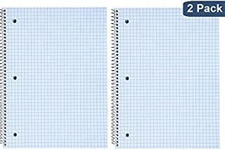 """1InTheOffice Ruled Paper Graph Pad, Quadrille Spiral Notebook, 8""""H x 10 1/2""""W""""2 Pack"""""""