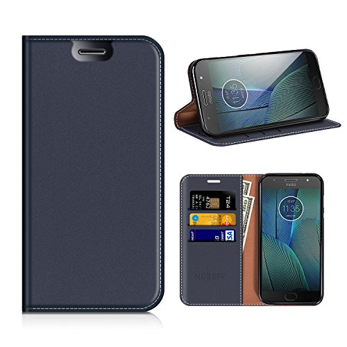 MOBESV Custodia in Pelle Motorola Moto G5S Plus, Custodia Motorola Moto G5S Plus Cover Libro/Portafoglio Porta per Cellulare Motorola Moto G5S Plus - Blu Scuro