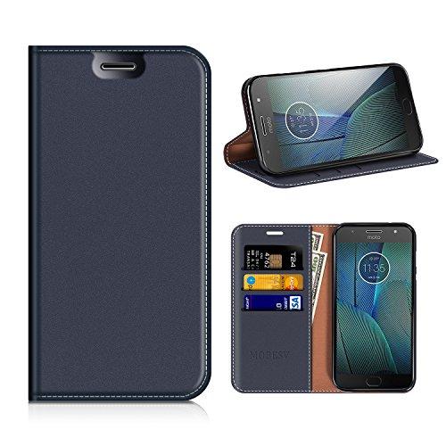 MOBESV Motorola Moto G5S Plus Hülle Leder, Motorola Moto G5S Plus Tasche Lederhülle/Wallet Hülle/Ledertasche Handyhülle/Schutzhülle mit Kartenfach für Motorola Moto G5S Plus - Dunkel Blau