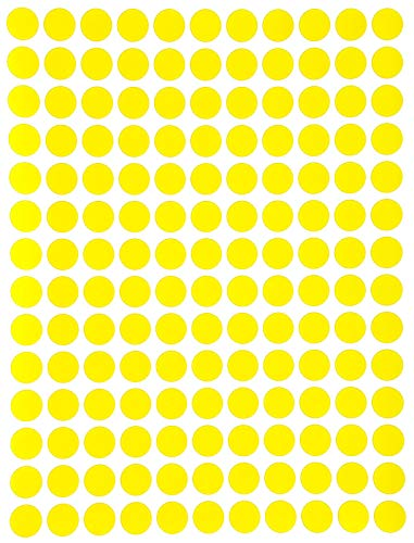 Adhesive DOTS Stickers for Inventory and Marking 3/8' (0.375) inch - 10mm -Yellow - 1400 Pack