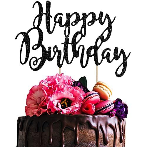 Happy Birthday Tortendeko Geburtstag, Schwarz Kuchendeko Girlande Cake Torten Kuchen Topper, Glitzer Cupcake Tortenstecker Geburtstagsdeko für Mädchen Junge Mann Frau Kindergeburtstag Taufe Party Deko