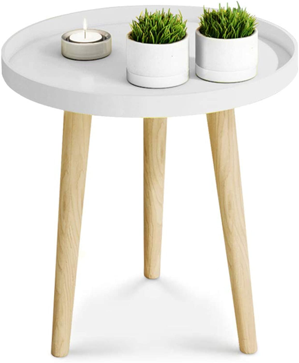 Small Round Table Nordic Bedroom Bedside Table Living Room Side Table Corner Table Wooden Coffee Table Decoration Sofa Table Telephone Table,White,50CM