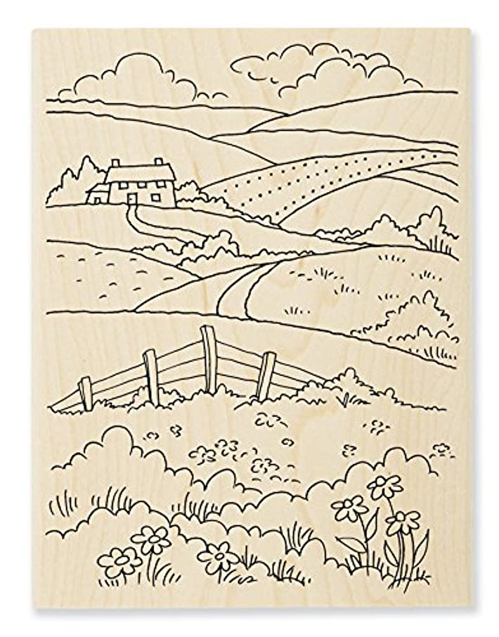 STAMPENDOUS Wood Stamp, Rolling Hills