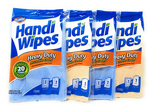 Handi Wipes Heavy Duty Reusable Cloths, Color May Vary - 3 ct - 4 pk