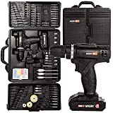 Mylek 18V Cordless Drill Electric Driver Set DIY Kit, 1500mAh Li-Ion, Variable Speed, LED Light, Anti-Shock Grip with 151 Piece Accessory Tool Kit and Carry Case (18V & 151 Piece Accessory Set)