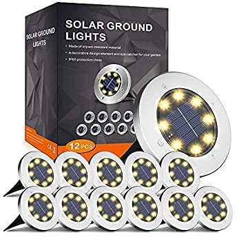 INCX Solar Ground Lights 8 LED Garden Lights Solar Powered,Disk Lights Waterproof In-Ground Outdoor Landscape Lighting for Patio Pathway Lawn Yard Deck Driveway Walkway,Warm White 12 Packs
