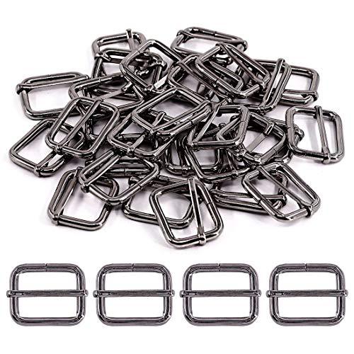 Swpeet 60Pcs 1 Inch / 25mm Gun-Black Heavy Duty Metal Rings Metal Rectangle Adjuster Triglides Slides Buckle, Roller Pin Buckles Slider Strap Adjuster Keychains for Belt Bags DIY Accessories