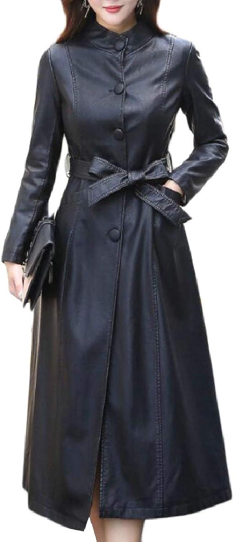 SmeilingCA Women's Plus Size Thick FauxLeather PU Slim Fit Maxi Jacket Trench Coat