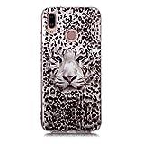Fatcatparadise Cover per Huawei P20 Lite [con Pellicola in Vetro Temperato], [Chiaro di Luna] TPU Morbido Silicone Bumper Cover [Ultra Sottile] Protettiva Case per Huawei P20 Lite(Tigre Leopardo)