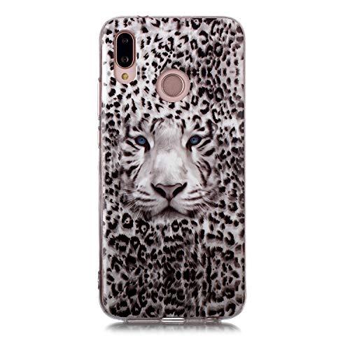 Fatcatparadise Funda para Huawei P20 Lite [con Protector Pantalla], Carcasa Silicona Claro de Luna Protector TPU Suave Anti-Choque Ultra-Delgado Funda para Apple Huawei P20 Lite(Tigre Leopardo