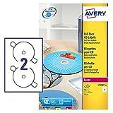 Avery L7676-100 Glossy Full Face CD Etiketten für Laserdrucker (117 mm Durchmesser Etiketten, 2 Etiketten pro A4 Blatt, 25 Blätter) - Weiß '