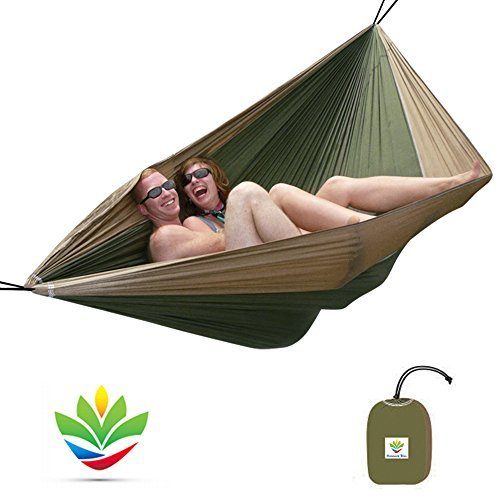 """Hammock Bliss Double - Extra Large Portable Hammock - Ideal For Camping, Backpacking, Kayaking & Travel - Suspension System Included - 100"""" / 250 cm Rope Per Side - Quality You Can Trust"""