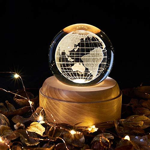 OurLeeme Spieluhr, Kristallkugel mit Nachtlicht Spieluhr mit LED-Projektionsleuchte Holzsockel für Weihnachten Geburtstags-Erntedankgeschenk (Erde)