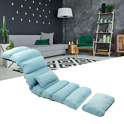 Sofá Pigger ajustable para casa, portátil, sofá individual, respaldo acolchado, soporta el sillón del salón, reclinable silla de juegos con cojín para dormitorio, salón, oficina azul