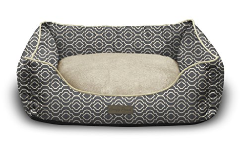 Pet Trendy Modern Chic Trellis Thick Bolstered-Microfiber Machine-Washable Pet Bed for Dog and Cat, 17-Inch x 22-Inch x 7-Inch, Slate Gray
