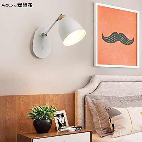 GYBYB ne rotazione di 350 gradi rotazione in bianco e nero bicolore in ferro battuto lampada da parete decorativa in legno americano scrivania camera da letto lampada da letto