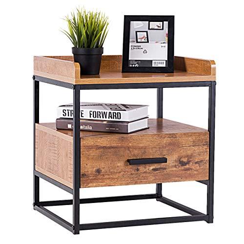 COSTWAY Beistelltisch 2 Ebenen, Sofatisch mit Metallgestell, Kaffeetisch mit Schublade, für Wohnzimmer Balkon Flur, Nachttisch fürs Bett, Telefontisch im Industriedesign