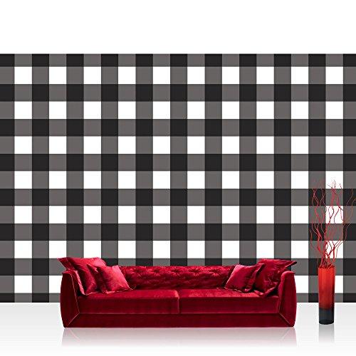 Vlies Fototapete 254x184cm PREMIUM PLUS Wand Foto Tapete Wand Bild Vliestapete - Texturen Tapete Pepita Schachbrett gewürfelt schwarz - weiß - no. 3452