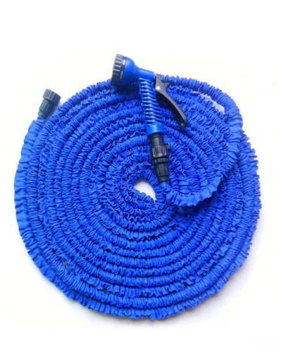 Manguera mágica elástica para jardín con pistola de riego, extensible hasta 3 veces su longitud original.22,5 m, color azul