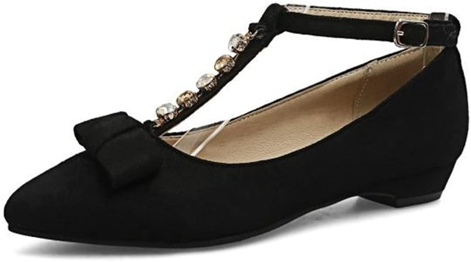 Eleganceoo Women's Fashion Trendy Pointy Toe Low Cut Bow shoes