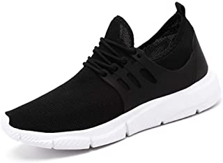 SKLT Mens Running Shoes Weave Breathable Black Sneakers Fashion Plus Size Durable Outdoor Sport Shoes for Men Lace Up Sneakers
