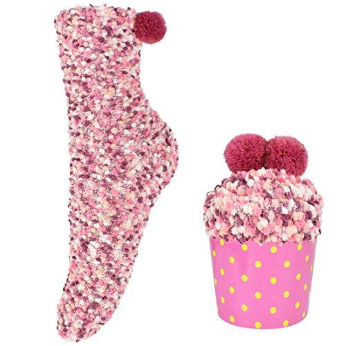 Tuopuda Calcetines para Navideños y San Valentín Mujeres Calcetines de Lana de Coral Empaquetado de Regalo de Magdalena Calcetines Térmicos de Felpa Difusa Cálida DIY Calcetines 1 o 3 pares