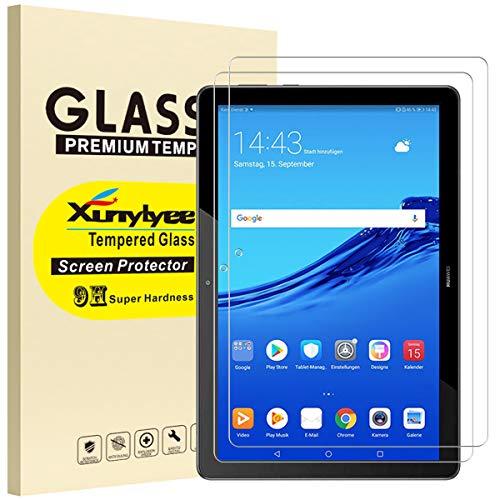 XunyLyee [2 Piezas] Protector de Pantalla Compatible Con Huawei MediaPad T5, Cristal Templado Film para Huawei MediaPad T5 2018 10.1 Pulgadas