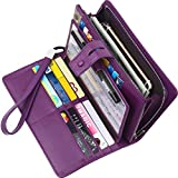 Lavemi Big Fat Rfid Blocking Leather Checkbook Credit Card Holder Wallets Clutch for Women with Wristlet Strap(Purple)