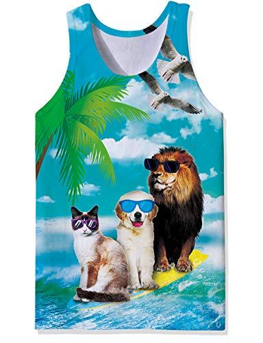 Boys Hilarious Muscle Tank Top Maritime Surfing Animals Prints Summer Compression Sleeveless Undershirt Designer Stringer Vest Funniest Athletic Sports Crisp Juniors Tees Singlet Shirt