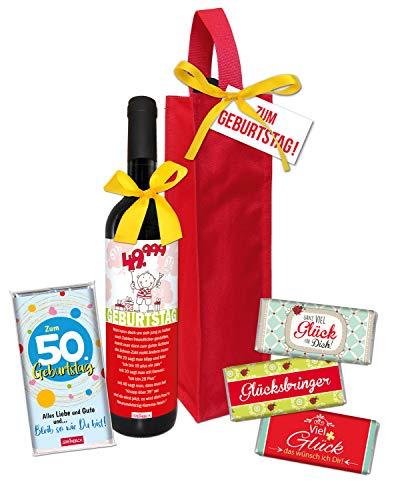 STEINBECK Set 50 Geburtstag trockener Rotwein Schokolade Geschenk Flaschentasche Präsentkorb Mitbringsel zum fünfzigsten