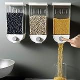 Syxfckc 3PCS recipientes de comida de plástico a prueba de humedad, montado en la pared cereales de almacenamiento, cajas de arroz contenedores de ingredientes, contenedores de almacenamiento de alime