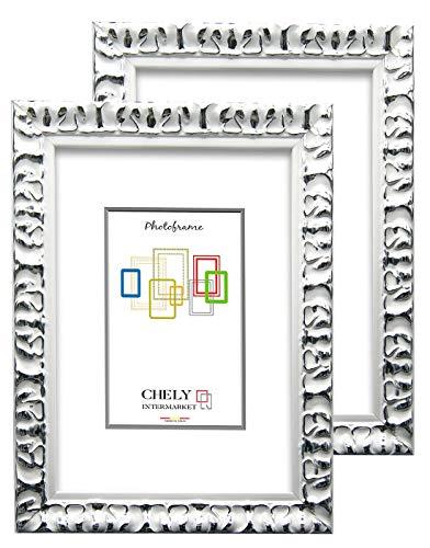 Chely Intermarket, Marco de Foto 10x15cm Blanco-Plateado (x2Unds) Mod-217 | Estilo Barroco | Marco de Madera para Decoración de Casa | Fotografías de Boda.(217-10x15*2-0,30)