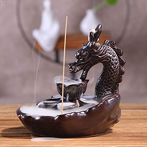 Dragon Incense Waterfall Burner Ceramic Smoke Backflow Incense Holder Include Incense Cones and Incense Sticks