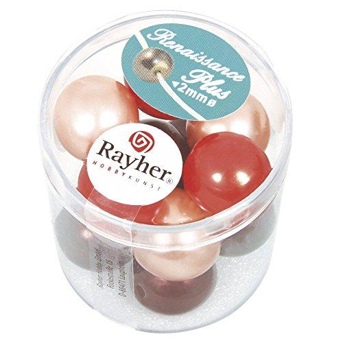 Rayher 14454000 renaissance glaswachsperlen 14 mm boîte de 12 pièces avec groàŸloch mix rouge