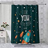 Aishare Store Cortinas de ducha para baño, Rocket on The Road of Space Adventure Cosmic Valentines Parejas Universo Theme, 72 x 182 cm, cortina de baño con ganchos, multicolor