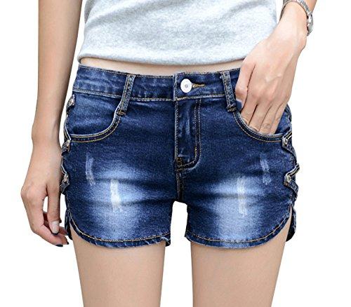 Govc Women Casual Summer Mid Waist Stretchy Denim Jean Shorts Junior Short...
