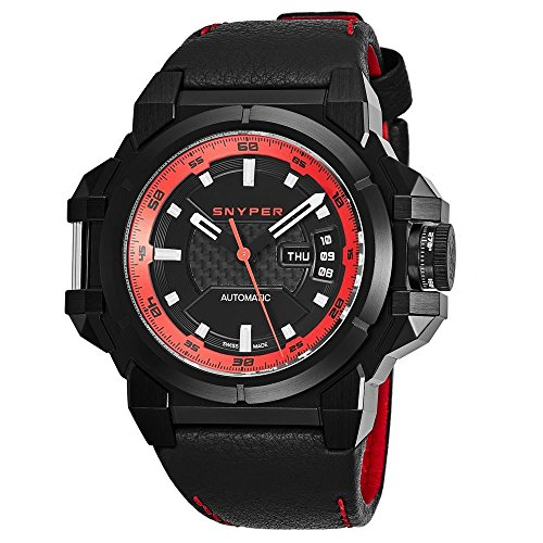 Snyper da uomo 48 mm Black Leather Band Steel case Automatic Watch...