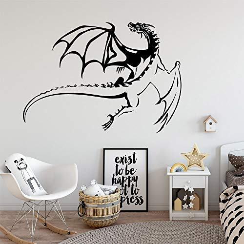 Dragón volador simple pegatinas de pared artista mural decoración del hogar habitación de los niños decoración natural calcomanías extraíbles A4 57x81 cm
