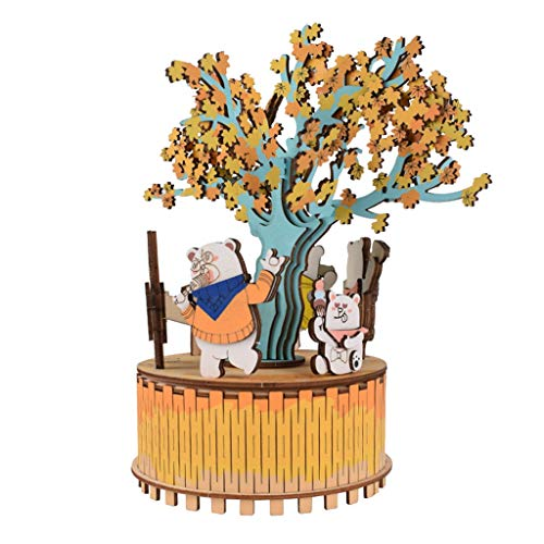 3D houten puzzel speelgoed-DIY Model Craft Kit Music Box Decorating Wood Ornamenten Music Box Decor QPLNTCQ (Color : A, Size : Free)