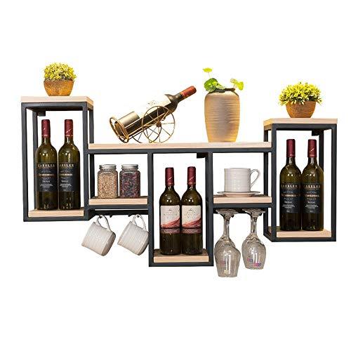 Lisun Casier à vin européen Armoire à vin Tenture Murale en Fer forgé Bois Casier à vin Restaurant Accueil Casier à vin Stockage créatif Panier à vin en Verre (Color : Wood Color)
