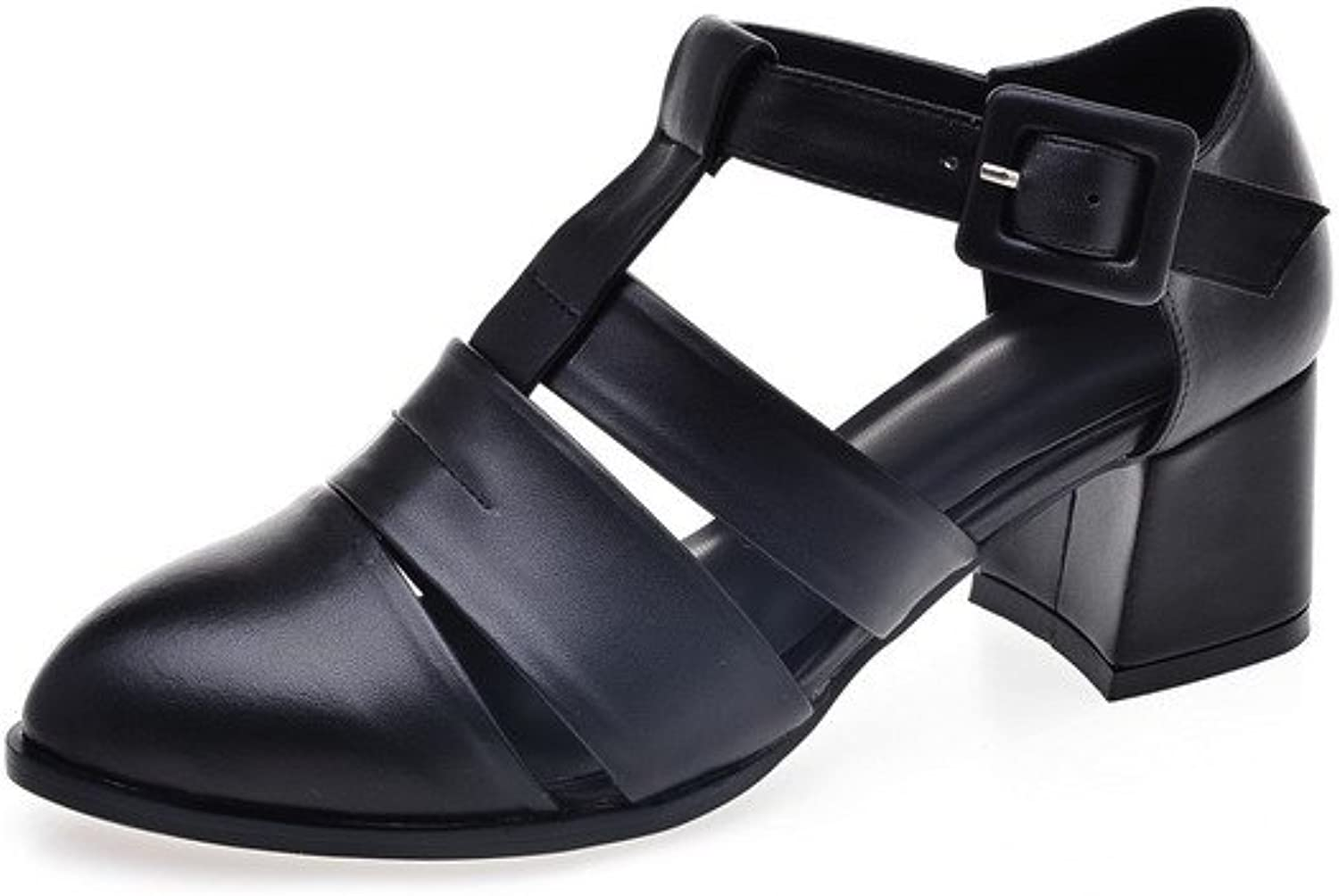 AmoonyFashion Women's Buckle Low-Heels Cow Leather Solid Pointed-Toe Sandals