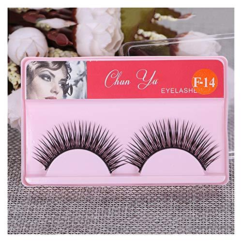 QH 1pair 3D Optical Fiber Mink False Eyelashes Thick Curly False Eyelashes Naturally Long Eyelashes Makeup Beauty (Color : F 14)