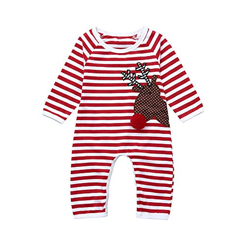 POLP niño Familia Navidad Pijamas Rayas Hombres Mujer Chico Niña Niños Bebé Sleepwear Ropa de Dormir Manga...