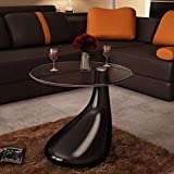 "INLIFE Coffee Table,Round Shape Clear Coffee Table with Glass Top and Teardrop Stand,End SideTable for Home and Office 16.5""x21.7""(DiameterxH)"