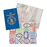 Fun Express Passport Sticker Book for Kids (Set of 12 Books) Includes Assorted Travel Stamp Stickers