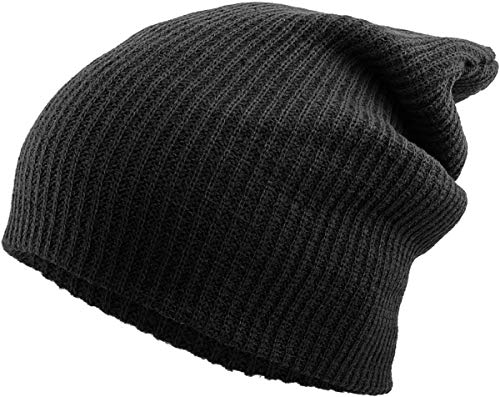 KBW-12 BLK Solid Slouchy Beanie Skull Cap Hat