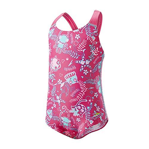 Speedo Seasquad Allover 1 Piece, Costume Bimba 0-24, Rosa (Vegas Pink Splash/Bali Blue), 4 Anni