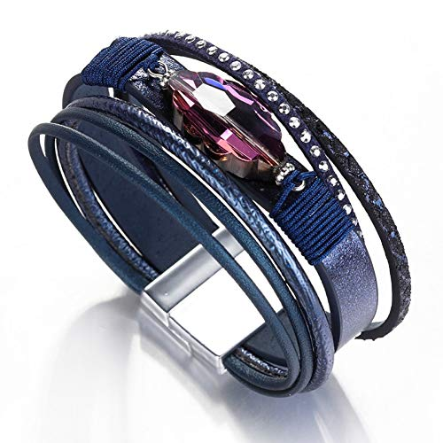 Fnito Armband Lederarmbänder für Frauen Armbänder & Armreifen Modeschmuck Lila Strass Breite Wickelarmband Weiblich Geschenk