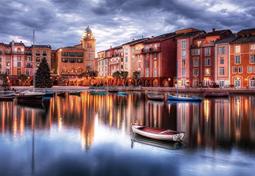CHOIS Custom Wall Murals Wallpaper Desinger Home Art Decor WM1140, City of Portofino Italy Warm Night lights Lake Boats Buildings Sky Inverted Reflection In Water, 145-inch by 100-inch 4-panel Mural